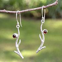 Garnet dangle earrings, 'Miracle of Nature' - Garnet dangle earrings