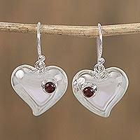 Garnet heart earrings, 'Love's Glow' - Hand Made Taxco Silver Heart Shaped Garnet Earrings