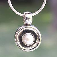Pearl pendant necklace, 'Magic' - Unique Taxco Silver and White Pearl Pendant Necklace