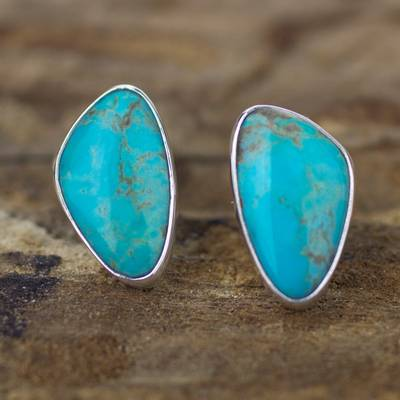 Natural Turquoise Stud / Button Earrings in Silver
