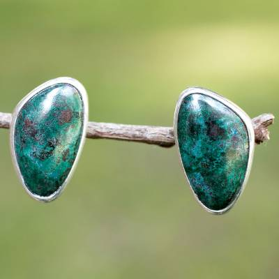 Chrysocolla button earrings, 'Allure' - Taxco Fine Silver and Chrysocolla Earrings