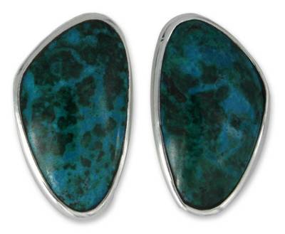 Taxco Fine Silver and Chrysocolla Earrings