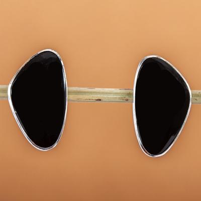 Obsidian button earrings, 'Allure' - Unique Taxco Silver and Obsidian Button Earrings