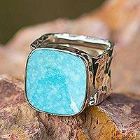 Turquoise cocktail ring, 'Always Azure' - Taxco Sterling Silver and Natural Turquoise Ring from Mexico
