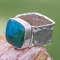 Chrysocolla cocktail ring, 'Always' - Collectible Taxco Silver Chrysocolla Cocktail Ring