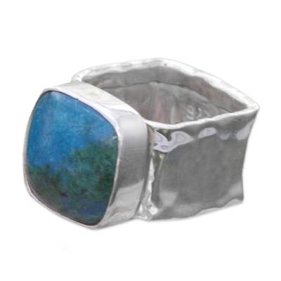 Collectible Taxco Silver Chrysocolla Cocktail Ring