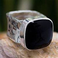 Onyx cocktail ring, 'Always Midnight' - Onyx Fair Trade Taxco Silver Cocktail Ring  from Mexico