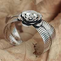 Silver floral bracelet, 'Beauty Within' - Silver floral bracelet