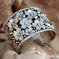 Sterling silver floral bracelet, 'Baroque Bouquet' - Silver 950 floral bracelet