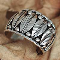 Sterling silver floral bracelet, 'Lush Foliage' - Fair Trade Women's Taxco Sterling Silver Cuff Bracelet