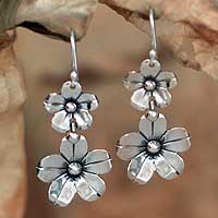 Silver floral earrings, 'Baroque Bouquet' - Handmade Taxco Silver Floral Dangle Earrings