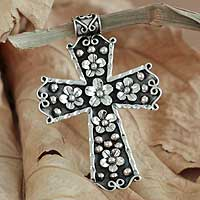 Silver cross pendant, 'Baroque Bouquet' - Silver cross pendant