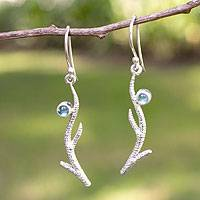 Blue topaz dangle earrings, 'Miracle of Nature' - Blue topaz dangle earrings