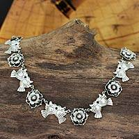 Sterling silver flower necklace, 'Mexican Romance'