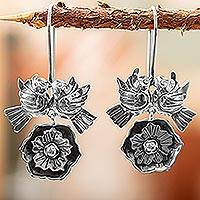 Sterling silver flower earrings, 'Mexican Romance' - Sterling Silver Love Bird Earrings from Mexico