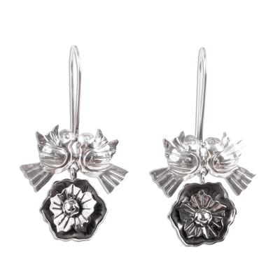 Sterling silver flower earrings, 'Mexican Romance' - Sterling Silver Love Bird Earrings from Mexico