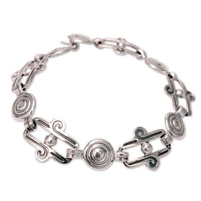Sterling silver link bracelet, 'Aztec Royalty' - Hand Made Taxco Silver Link Bracelet