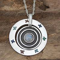 Labradorite pendant necklace, 'Pisces Universe' - Labradorite Mexico Sterling Silver Pendant Necklace