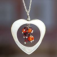 Garnet and carnelian heart necklace, 'Fire Heart' - Garnet and carnelian heart necklace