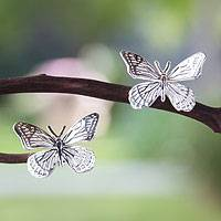 Sterling silver button earrings, 'Monarch Butterfly' (1 inch) - Fair Trade Taxco Silver Button Earrings