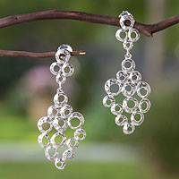 Sterling silver dangle earrings, 'Taxco Groove' - Sterling silver dangle earrings
