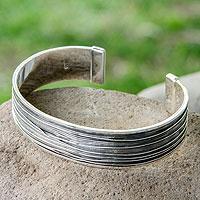 Men's sterling silver cuff bracelet, 'Mezcala River' - Men's Taxco Silver Cuff Bracelet