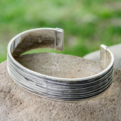 Men S Sterling Silver Cuff Bracelet Mezcala River Taxco