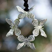 Sterling silver pendant necklace, 'Monarch Butterfly'