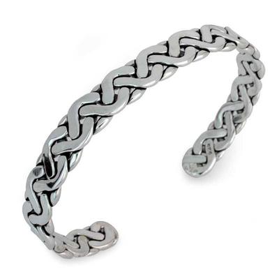 Handcrafted Modern Braided Sterling Silver Cuff Bracelet