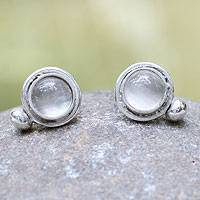Moonstone button earrings, 'Moon Goddess' - Unique Sterling Silver and Moonstone Button Earrings.