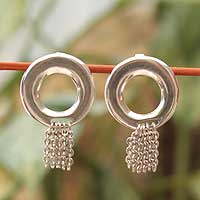 Sterling silver dangle earrings, 'Moonlit Cascade' - Hand Made Sterling Silver Dangle Earrings from Mexico