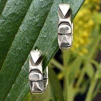 Sterling silver hoop earrings, 'Sierra Breeze' - Hand Crafted Taxco Silver Hoop Earrings
