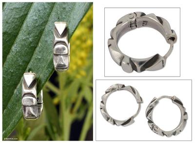 Sterling silver hoop earrings, 'Sierra Breeze' - Hand Crafted Taxco Silver Hoop Earrings