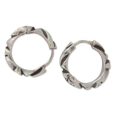 Hand Crafted Taxco Silver Hoop Earrings