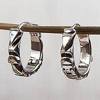Sterling silver hoop earrings, 'Aztec Dreams'