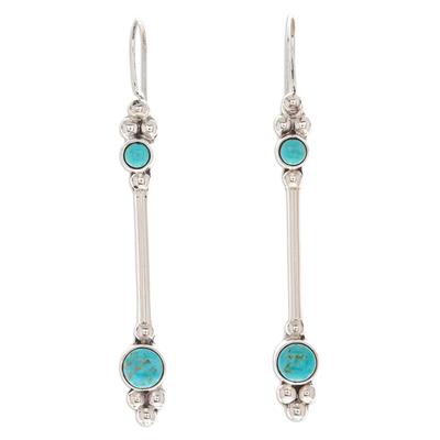 Turquoise dangle earrings, 'Friendship Sparkles' - Turquoise dangle earrings