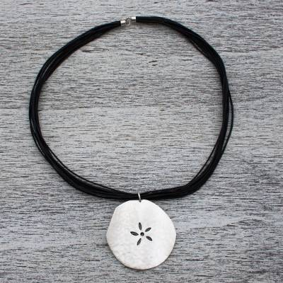 Sterling silver flower necklace, 'Fossil Flower' - Sterling silver flower necklace