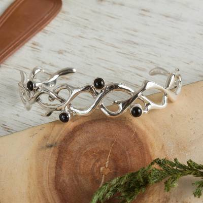 Onyx cuff bracelet, 'Hope' - Hand Made Taxco Silver Onyx Bracelet