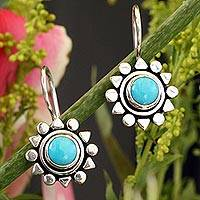 Turquoise drop earrings, 'Aztec Star'