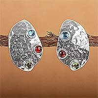 Blue topaz and garnet button earrings, 'Taxco Harmony' - Taxco Silver Button Multigem Earrings