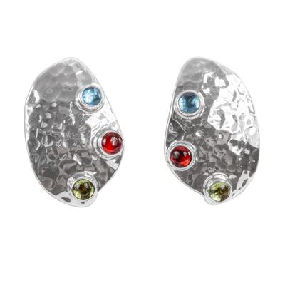 Taxco Silver Button Multigem Earrings