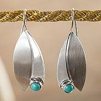 Turquoise drop earrings, 'Taxco Flora' - Unique Sterling Silver Natural Turquoise Leaf Earrings