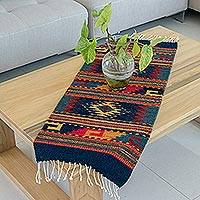 Zapotec wool rug, 'Two Windows' (1.5x3)