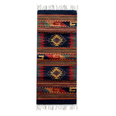 Zapotec wool rug, 'Two Windows' (1.5x3) - Unique Geometric Small Wool Rug (1.5x3)
