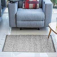 Zapotec wool rug, 'Gray Sky' (2x3.5) - Fair Trade Zapotec Tweed Wool Area Rug (2x3.5)