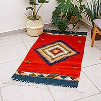 Zapotec wool rug, 'Bright Star' (2.5x5) - Zapotec wool rug (2.5x5)