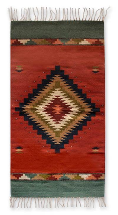 Zapotec wool rug, 'Bright Star' (2.5x5) - Zapotec wool rug (2.5x5)
