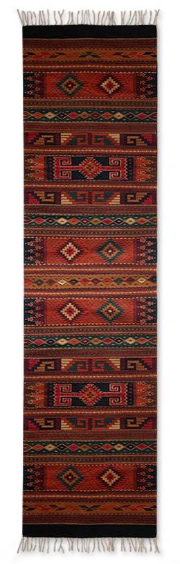 Handmade Zapotec Area Rug with Geometric Motifs (2.5x10)