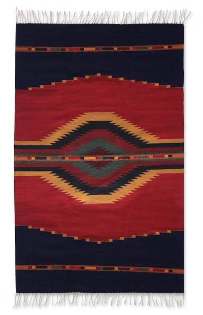 Zapotec wool rug, 'Reflections' (4x6) - Zapotec Wool Rug 4 X 6 Ft Multicolor Handmade in Mexico