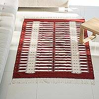 Zapotec wool rug, 'Candles' (4x6.5) - Artsian Crafted Burgundy and White Zapotec Wool 4x6.5 Rug